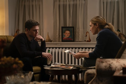 Evan Peters and Kate Winslet in 'Mare of Easttown' via HBO press site.