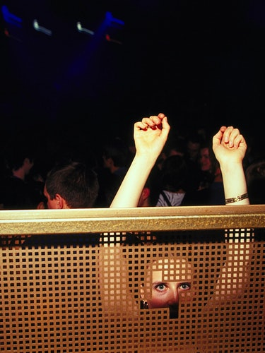 The DJ booth at Fabric, London, 2000.