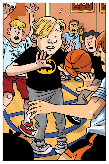 A cartoon illustration of the author as a middle-schooler: a blond boy wearing a Batman t-shirt about to catch a basketball.