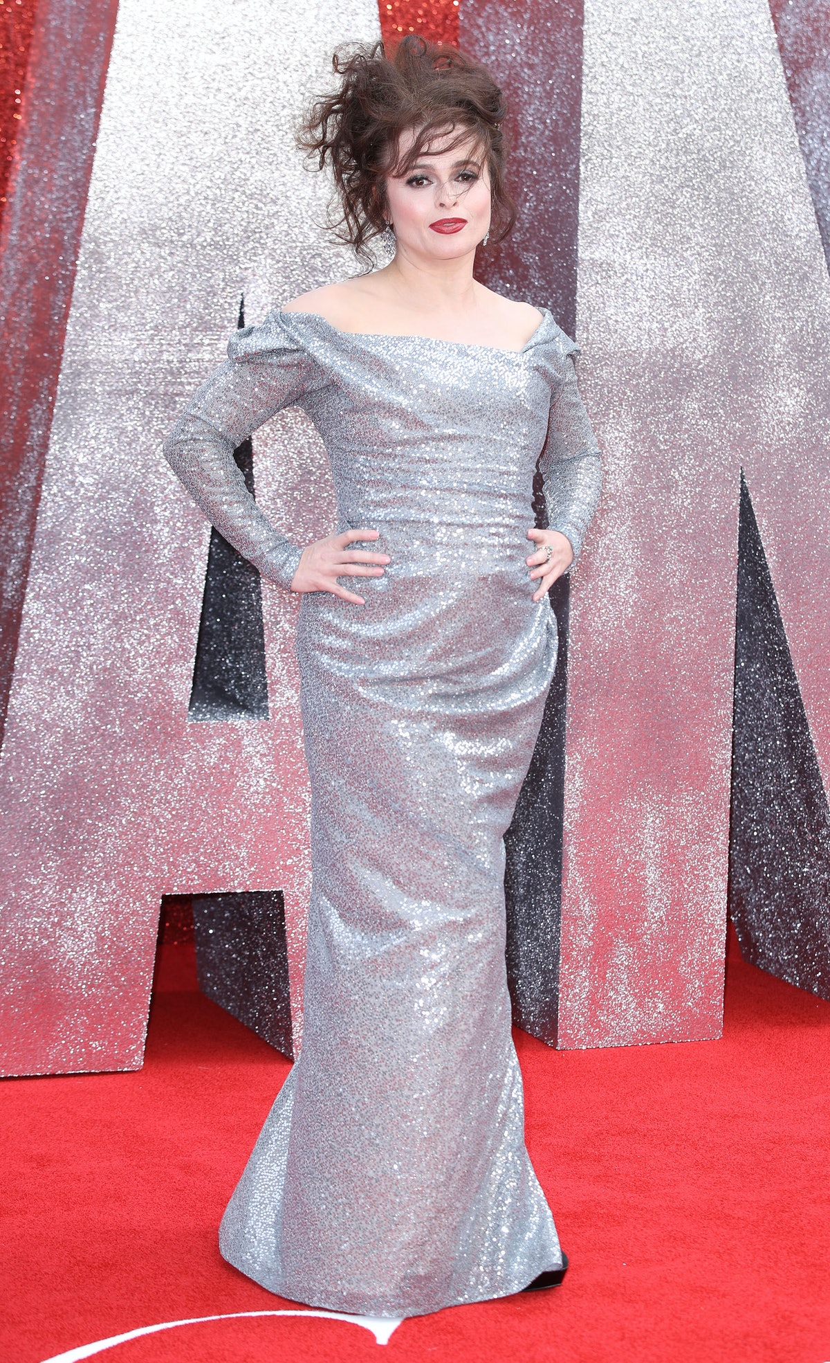 HBC wearing a silver gown