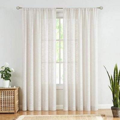 Fmfunctex Sheer Linen Curtains