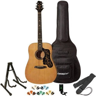Sawtooth Acoustic Guitar with Padded Case, Tuner, Stand, Strap, Picks, and Free Music Lessons