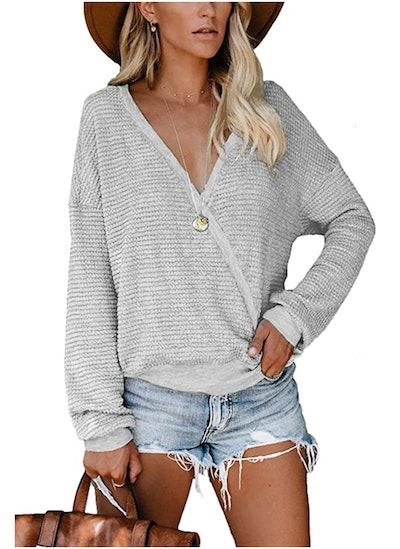 NSQTBA Deep V-Neck Wrap Sweaters