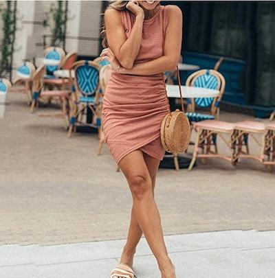 BTFBM Ruched Sleeveless Tank Dress