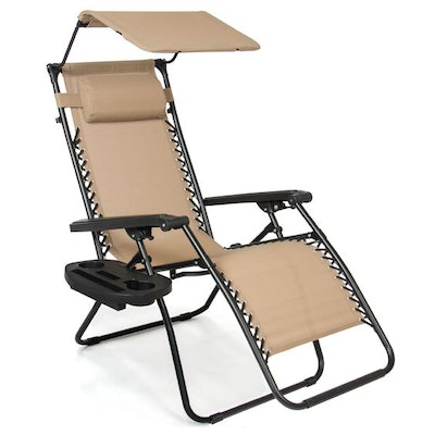 Best Choice Products Folding Zero Gravity Recliner Patio Lounge Chair w/ Canopy Shade, Headrest, Side Tray