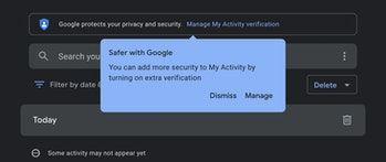 Google search history lock down menu
