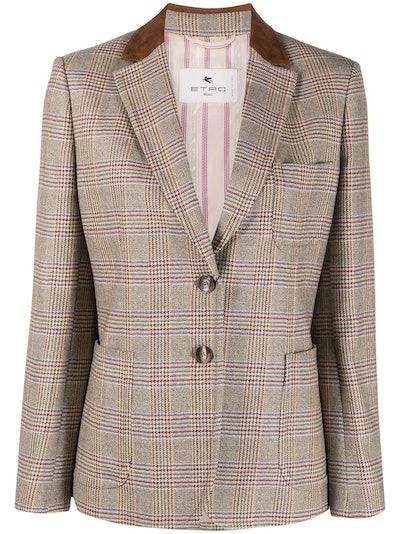 Plaid Check Wool Blazer