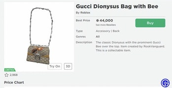 Roblox Gucci Dionysus Bag with Bee sale