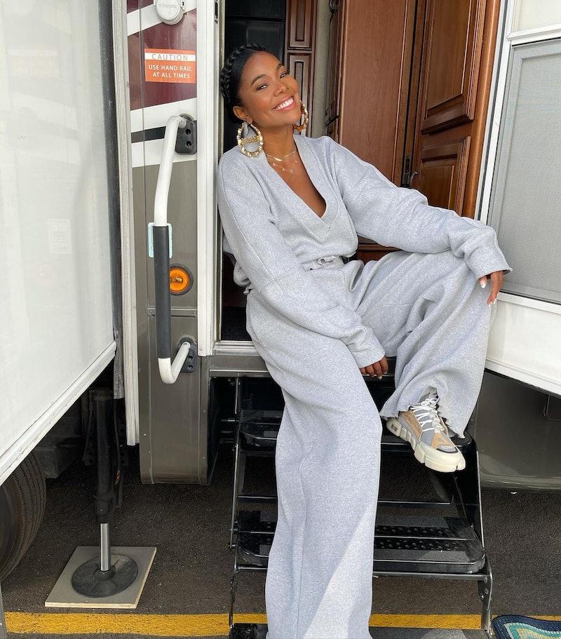 Gabrielle Union wears grey sweatsuit.