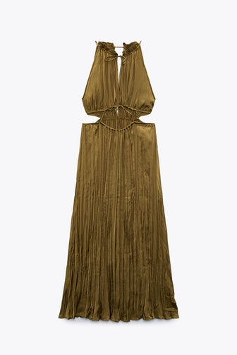 Satin Effect Cut Out Dress