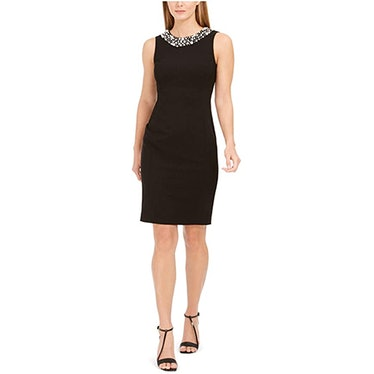 Calvin Klein Petite Sleeveless Sheath Dress With Pearl Neck