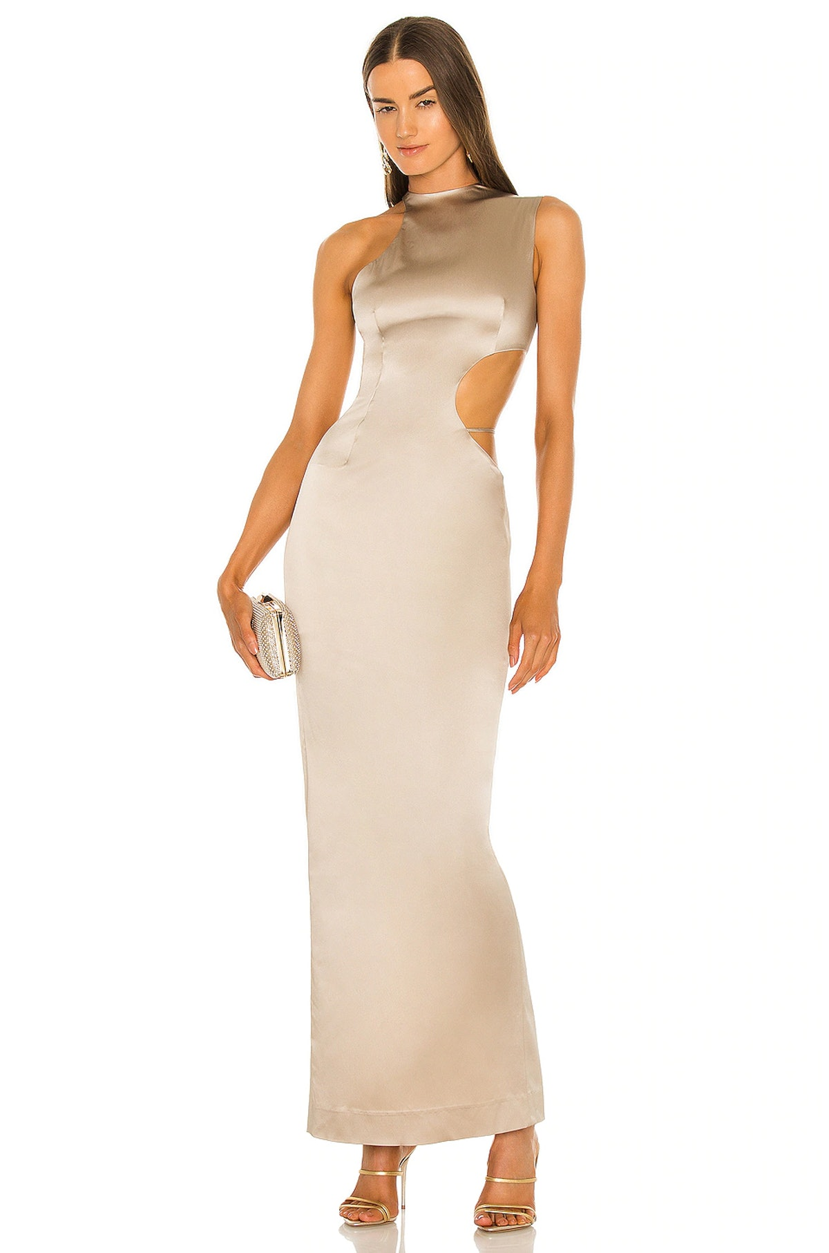 Halter Side Cutout Gown