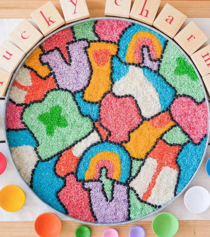 lucky charms themed sensory play art mosaic