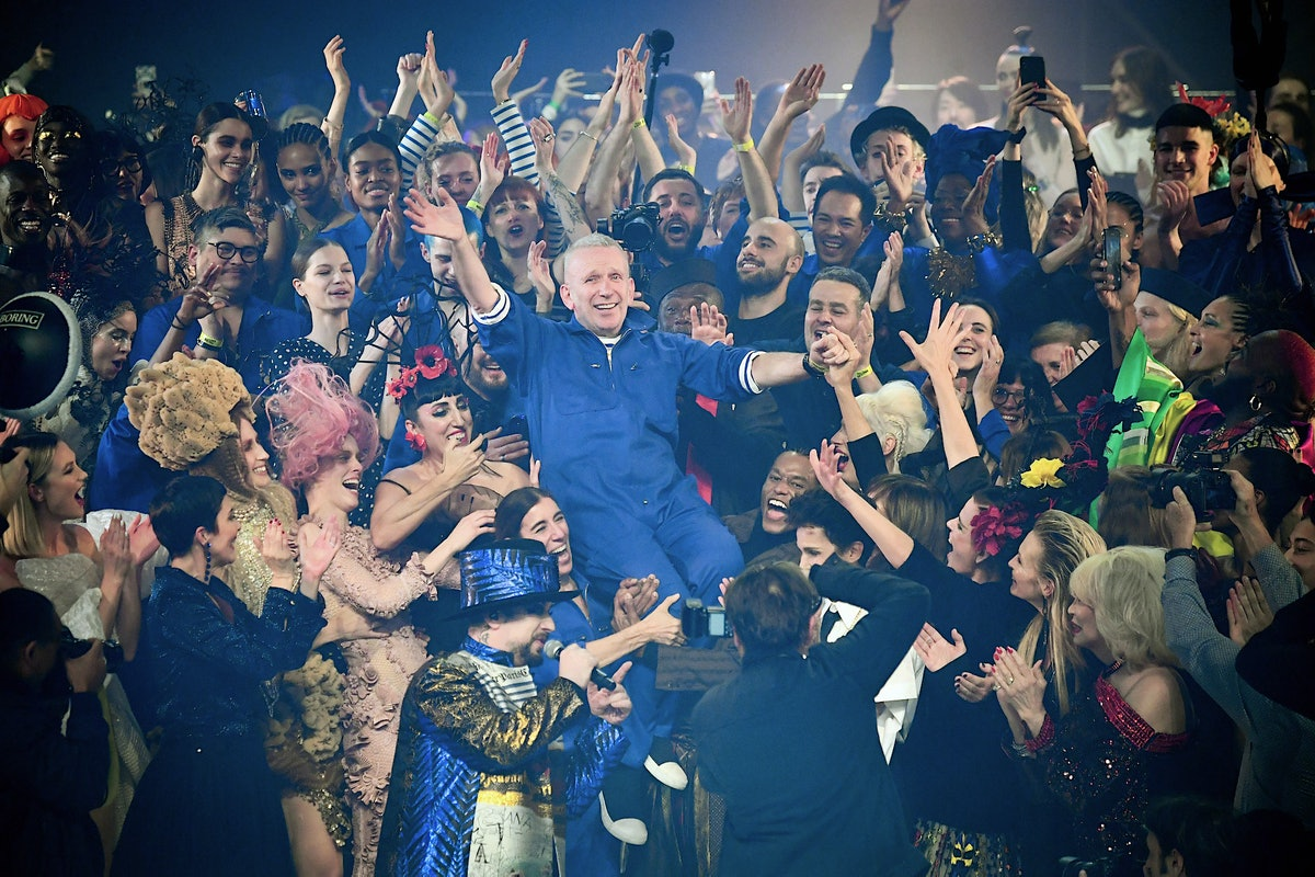 Jean Paul Gaultier crowdsurfing at his final couture show
