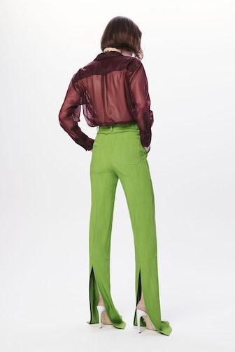 Split Hem Straight Leg Trouser in Lime Green