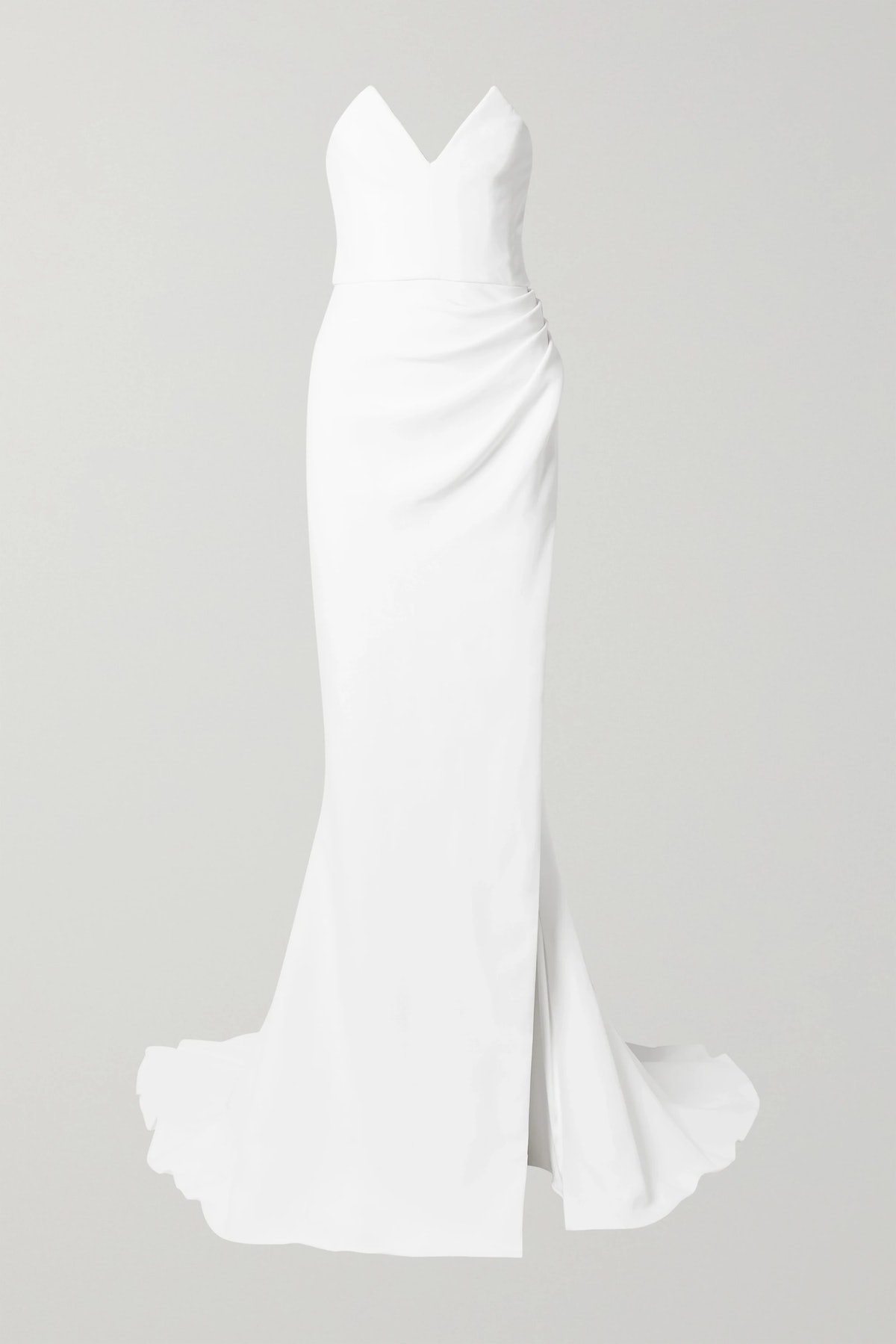 Strapless Ruched Crepe Gown