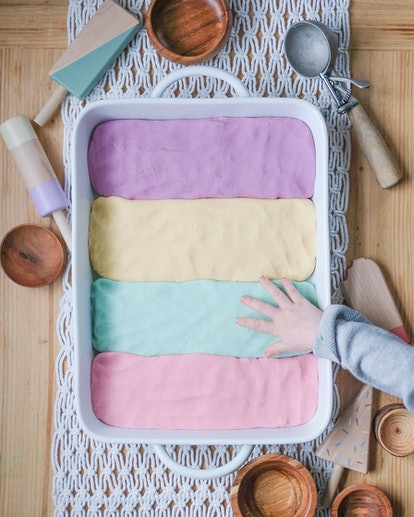 color blocked play dough as sensory play art