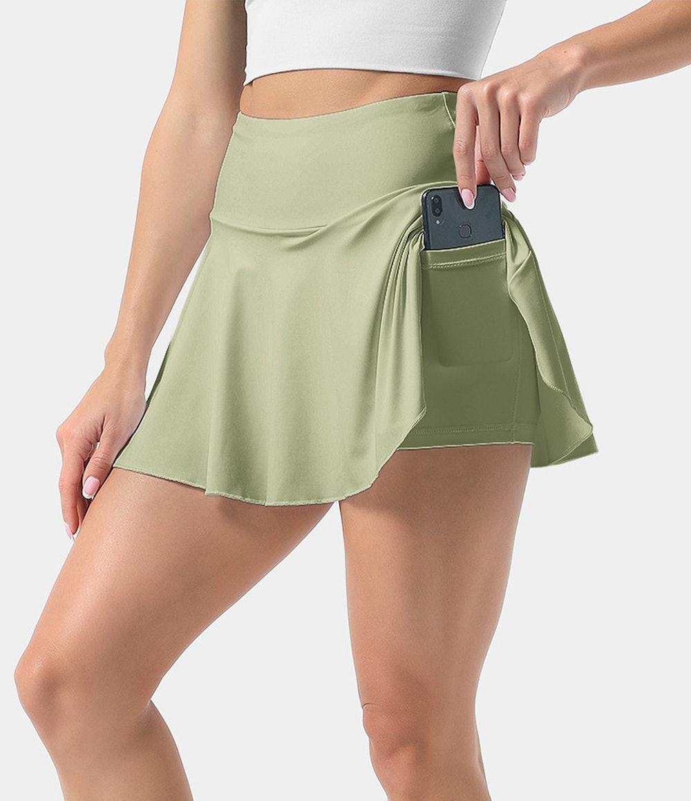 High Rise Side Pocket Flared Tennis Skirt