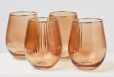 Rosado Pink Stemless Wine Glasses Set of Four