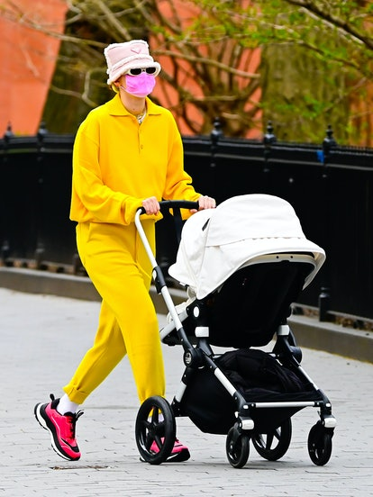 Gigi Hadid is seen walking in SoHo on April 1, 2021 in New York City.