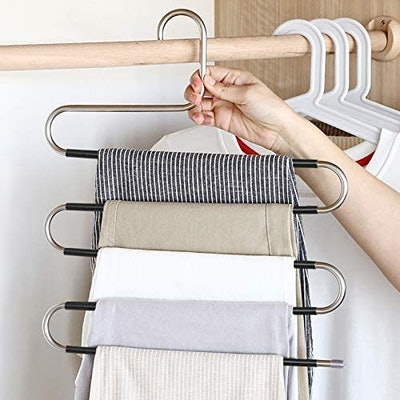DOIOWN Non Slip S-Shaped Pants Hangers (5-Pack)