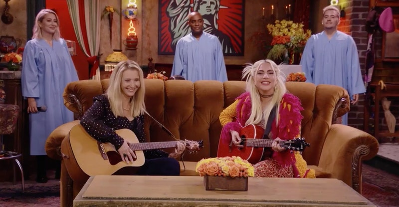"""Lisa Kudrow and Lady Gaga duet """"Smelly Cat"""" in 'Friends: The Reunion' on HBO."""