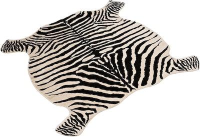 Townssilk Faux Zebra Print Area Rug (4x4.6 Feet)