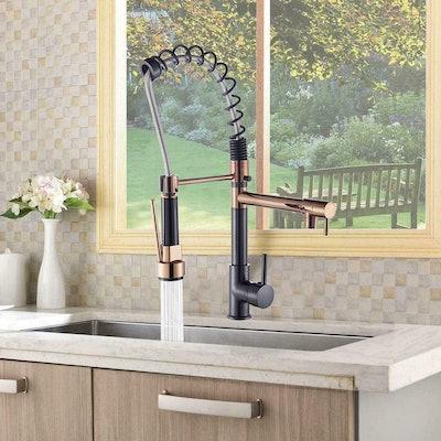 FUZ Bronze+Rose Gold Pull Down Kitchen Faucet