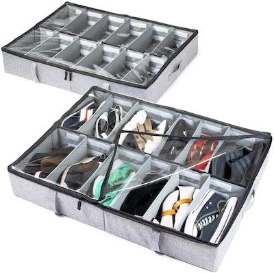 storageLAB Under Bed Shoe Storage Organizer (2 Count)