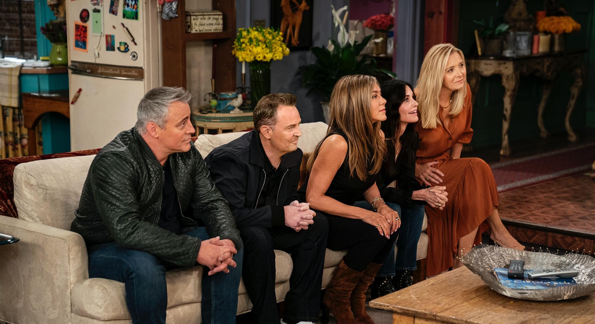 Matt LeBlanc, Matthew Perry, Jennifer Aniston, Courteney Cox and Lisa Kudrow in 'Friends: The Reunion' via HBO Max's press site