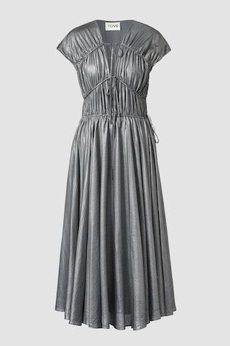 Ceres Silk Midi Dress Silver
