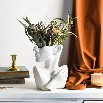 Funsoba Ceramics Statue Flower Vase Face Pots