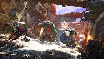 biomutant battle between several enemies