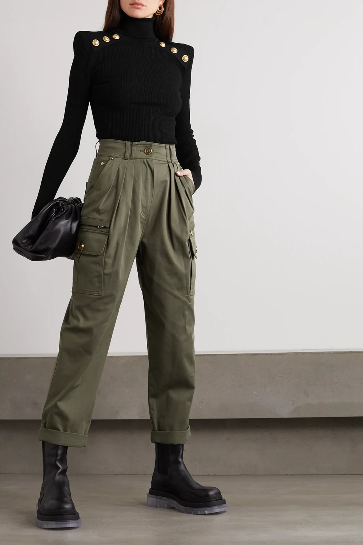 Pleated Cotton-Blend Twill Cargo Pants