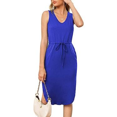 LILBETTER V-Neck Sleeveless Drawstring Midi Dress