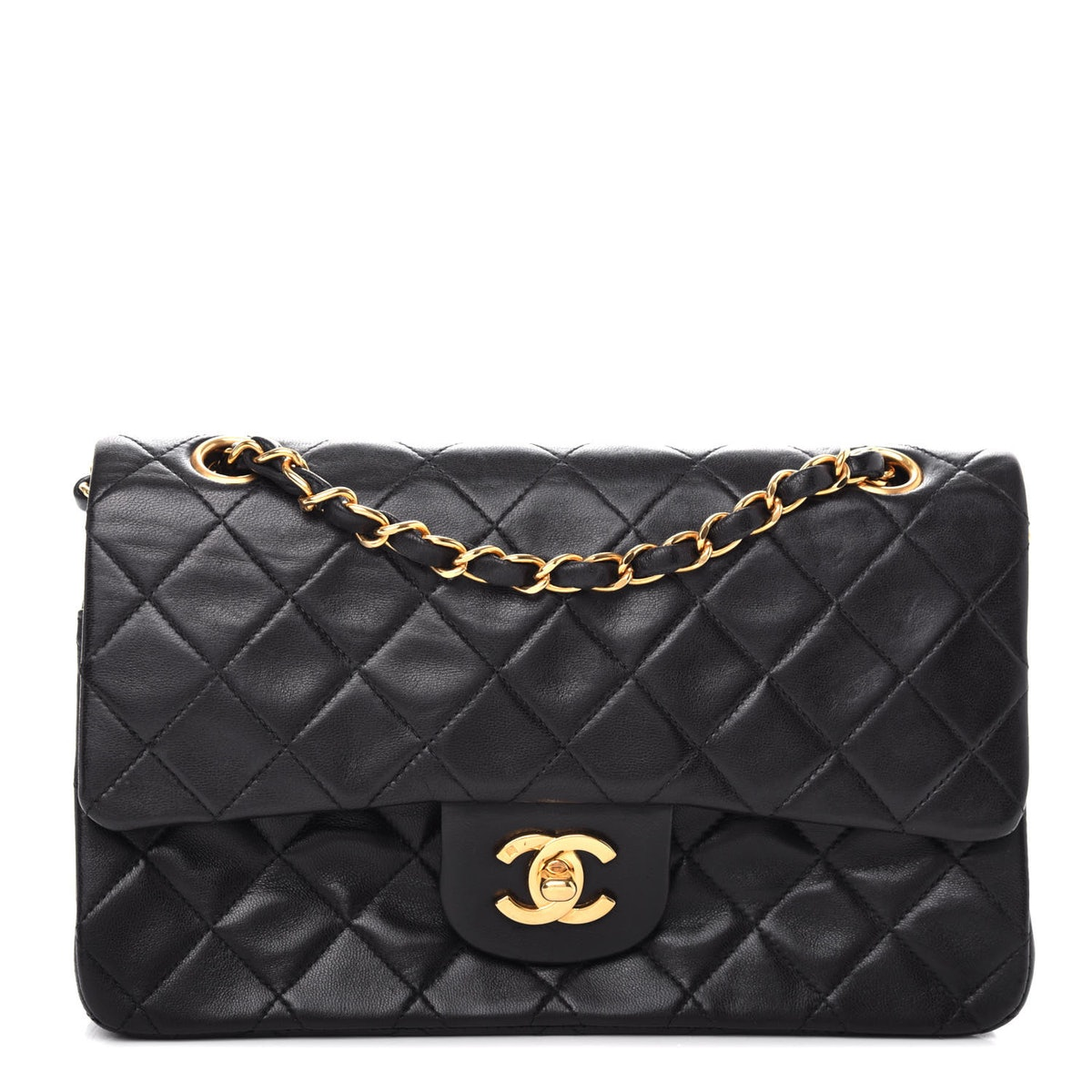 Lambskin Quilted Small Double Flap Black