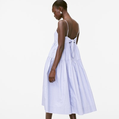 Tie-Back Tiered Cotton Poplin Dress