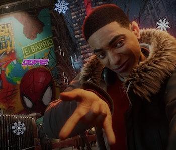 A close-up still from Spider-Man: Miles Morales