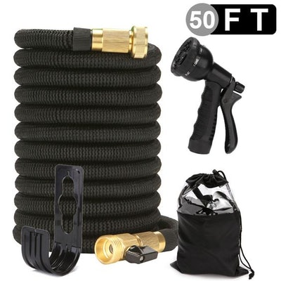 """Meidong 50 Foot Expandable Garden Hose, Upgraded Leakproof Lightweight No-Kink Water Hose, Flexible Water Hose with Triple Layered Latex Core, 3/4""""Solid Brass Fittings, with Spray Nozzle, Bag & Holder"""
