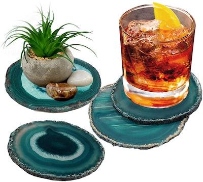 "AMOYSTONE Agate Coasters Teal (3-3.5"", Set of 4 )"