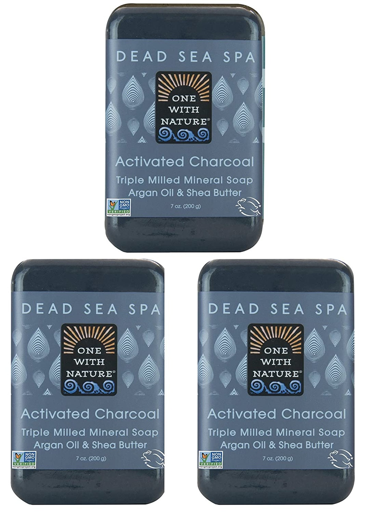 One With Nature Dead Sea Spa Activated Charcoal Soap (3-Pack)