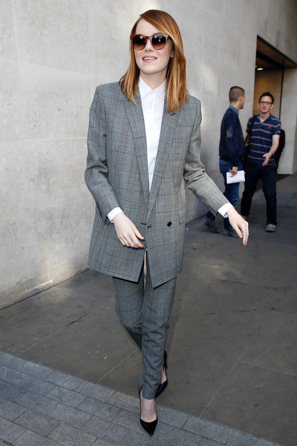 Emma Stone wearing a suit