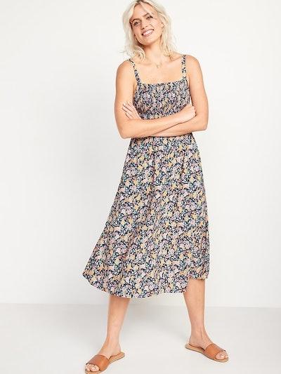 Smocked Fit & Flare Cami Midi Dress
