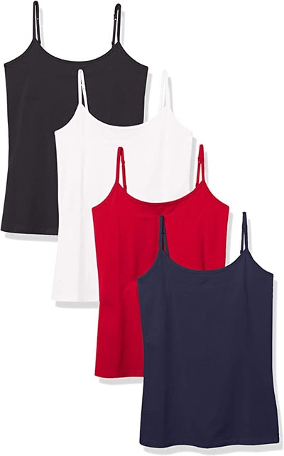 Amazon Essentials Women's Slim-Fit Camisole (4-Pack)