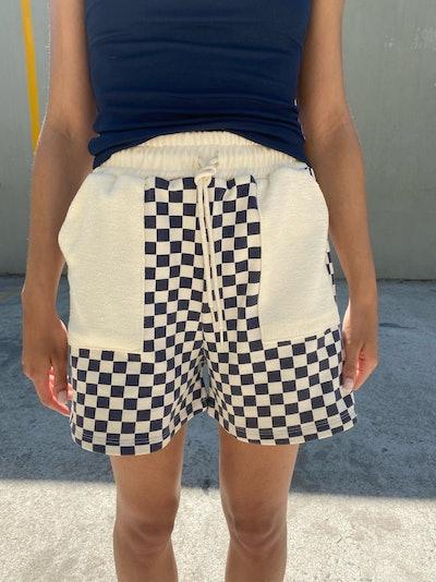 Checkered Drawstring Shorts