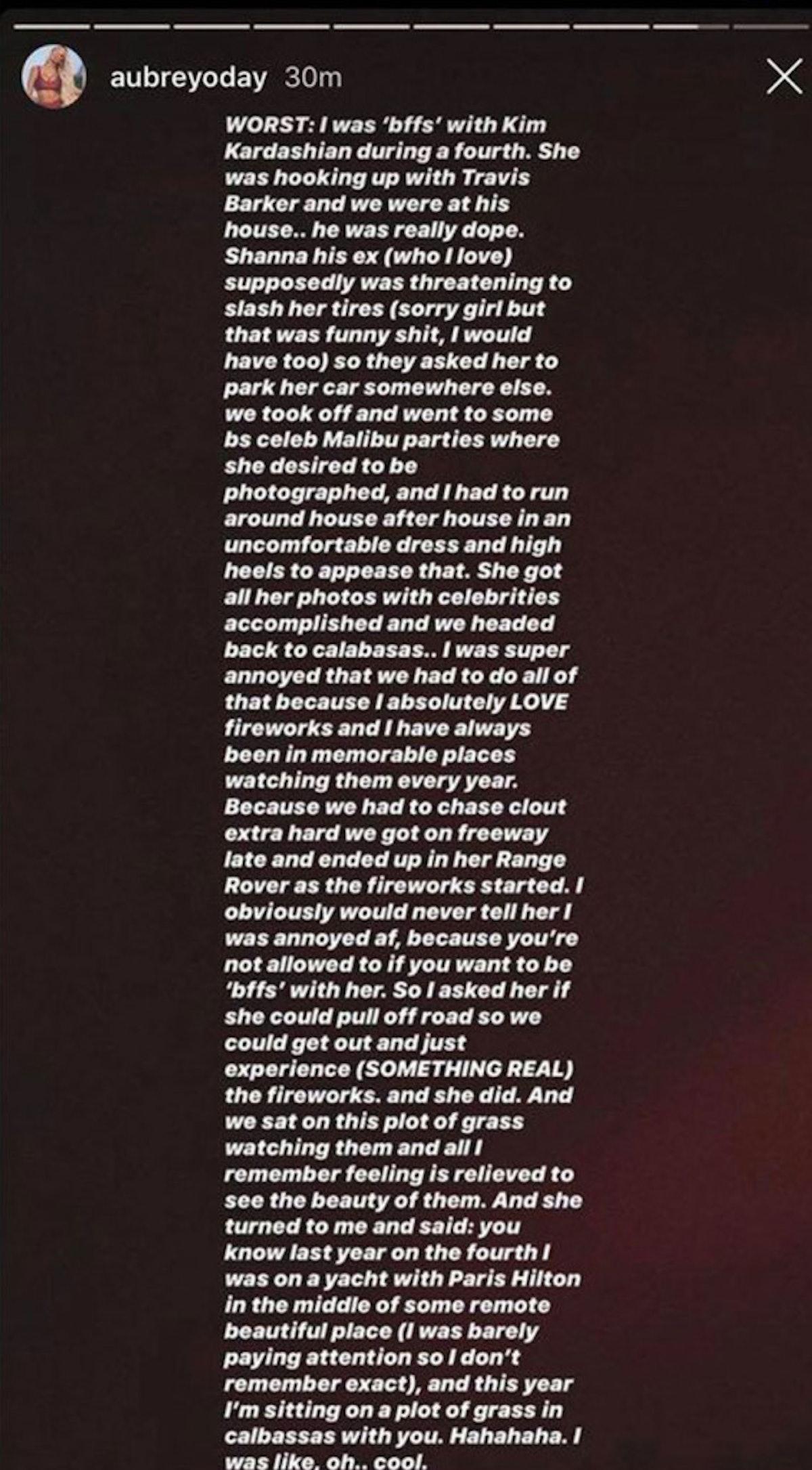 Aubrey O'Day claims Kim Kardashian and Travis Barker hooked up.
