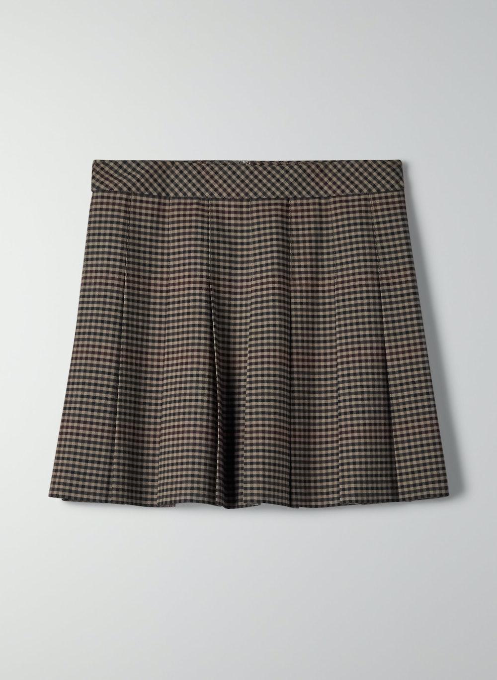 "Sunday Best Olive Mini 15"" Skirt in Dark Moss Bramble Check"