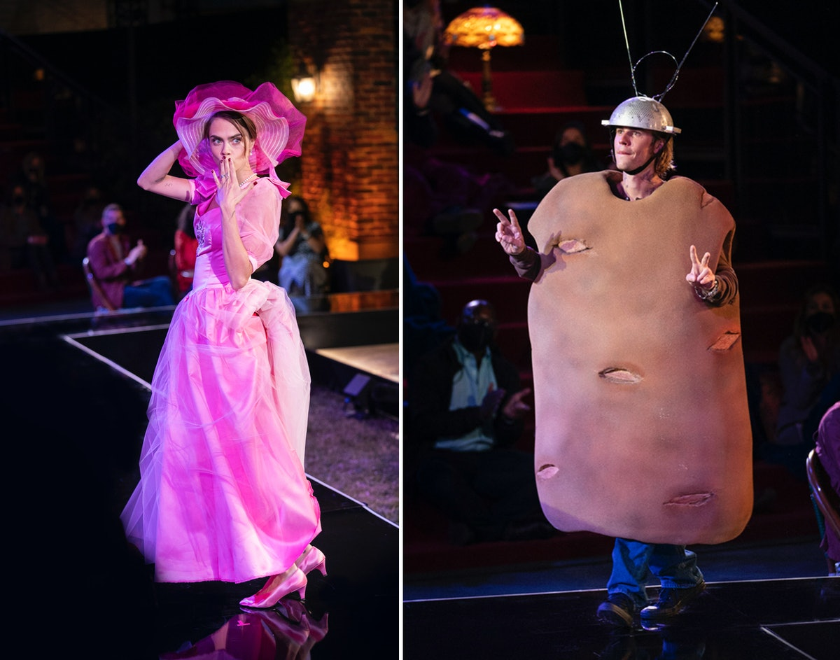 """Cara Delevingne and Justin Bieber (dressed as a potato) in """"Friends: The Reunion"""""""