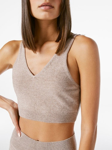 Cashmere Cropped Tank in Mushroom Heather