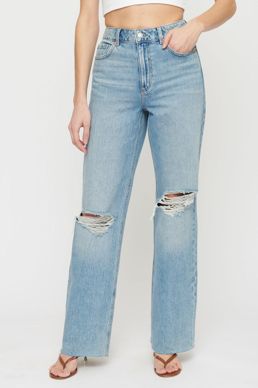 ETHOS Heidi Distressed Wide Leg Jeans